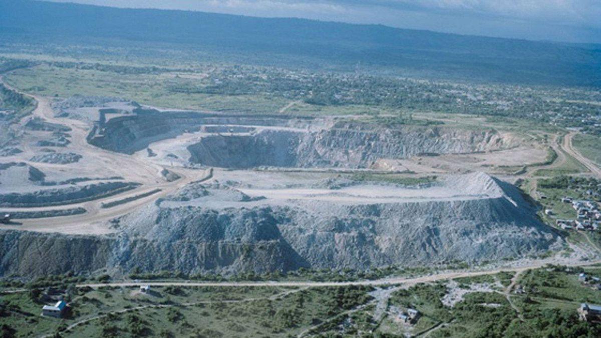 An aerial view of Barrick Gold's North Mara Mine in Tanzania.