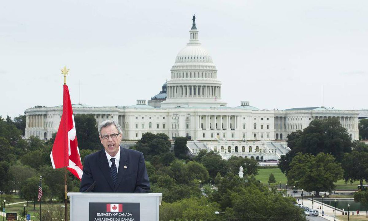 Canada's Minister of Natural Resources Joe Oliver speaks to reporters during a news conference at the Canadian embassy in Washington, Monday, Sept. 9, 2013