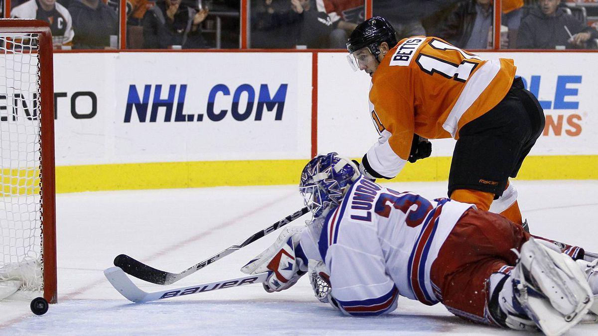 Philadelphia Flyers' Blair Betts, top right, scores a goal past New York Rangers goalie Henrik Lundqvist.