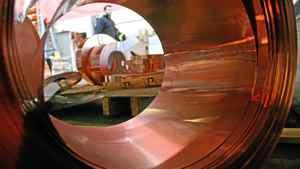 A copper stripping coil at a copper suppliers in the U.K.