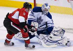 Toronto Maple Leafs' Jonas Gustavsson stops a break-away shot from Ottawa Senators' Milan Michalek during second period NHL action in Ottawa, Ont., on Tuesday March 16, 2010.