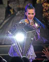Thus fortified, Katy launches into a techno version of Diamonds Are a Girl's Best Friend.