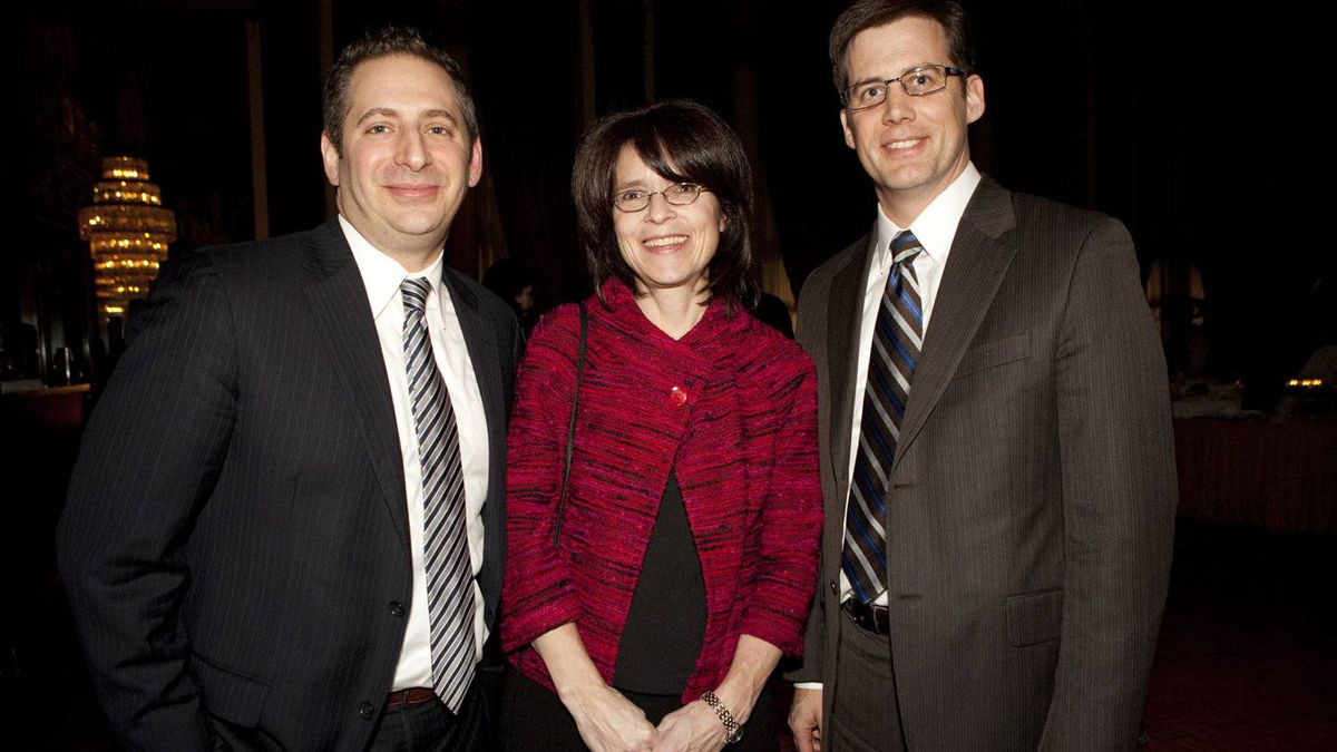 Awards recipients, left to right, Hilly Cutler, Stephanie Griffith, and Jason Thompson of Mackenzie Investments.