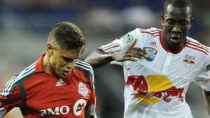 Adrian Cann (L) of Toronto FC and Salou Ibrahim (R) of the New York Red Bulls during game August 11, 2010 at Red Bull Arena in Harrison, New Jersey. Red Bulls won, 1-0. Getty Images/Stan Honda