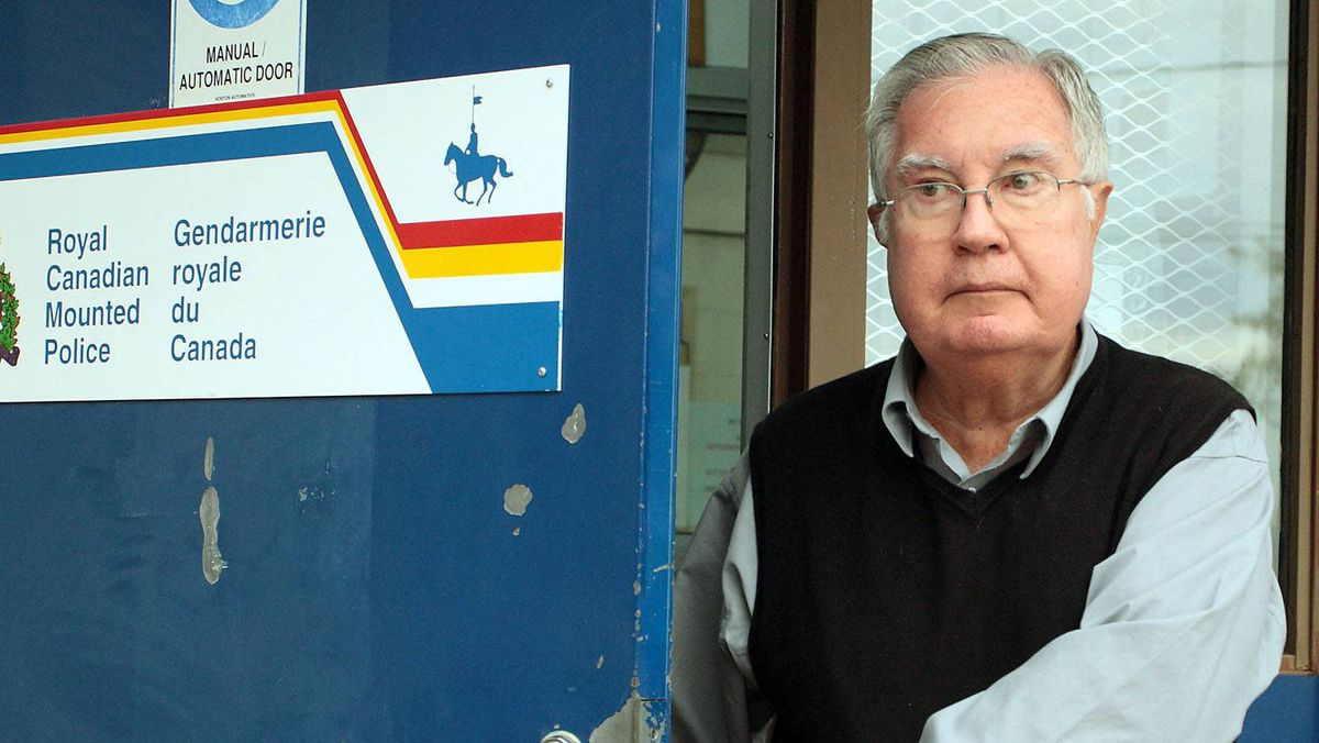 A 2009 file photo of Bishop Raymond Lahey, who is shown leaving an RCMP office in Rogersville, N.B.