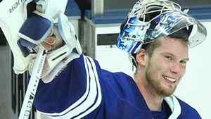 Toronto Maple Leafs goalie James Reimer Tom Szczerbowski-US PRESSWIRE