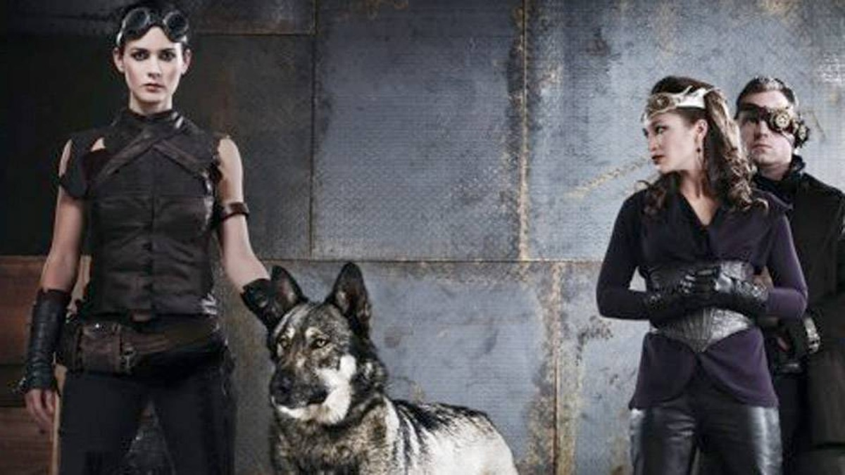 Christine Chatelain, left, plays Riese, who travels through a dying land with her wolf companion while battling to remember her past.