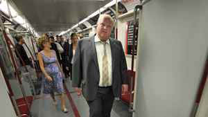 Mayor Rob Ford inspects one of the new Bombardier subway cars, July 27, 2011.