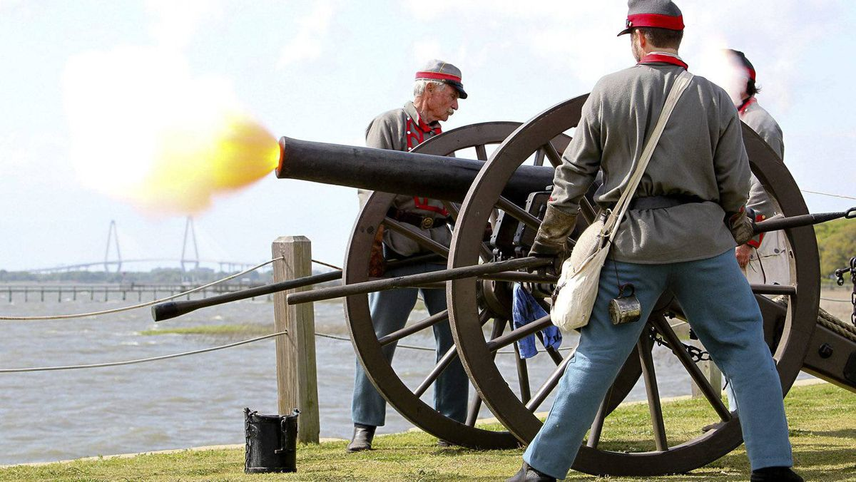 Re-enactors fire mortars at the Pitt Street Bridge near Fort Sumter, to commemorate the moment the first shots of the Civil War were fired 150 years ago in Charleston, S.C., on Tuesday, April 12, 2011.