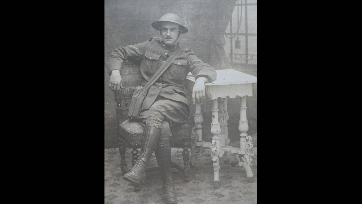 """Arthur """"Geoff"""" Christie is pictured in this July 12, 1917 photo, taken in France. Writes his granddaughter: """"A few months later he was a victim of early chemical warfare, blinded in a mustard gas attack. He survived, and his eyesight eventually returned. He spoke little of his wartime experiences. As a child I thought it funny when he shouted in his sleep. Now I know better."""""""