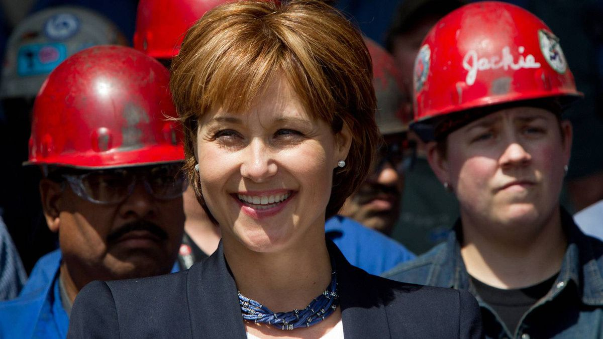 British Columbia Premier Christy Clark smiles after speaking at Seaspan Shipyards in North Vancouvern on Tuesday, June 7, 2011.