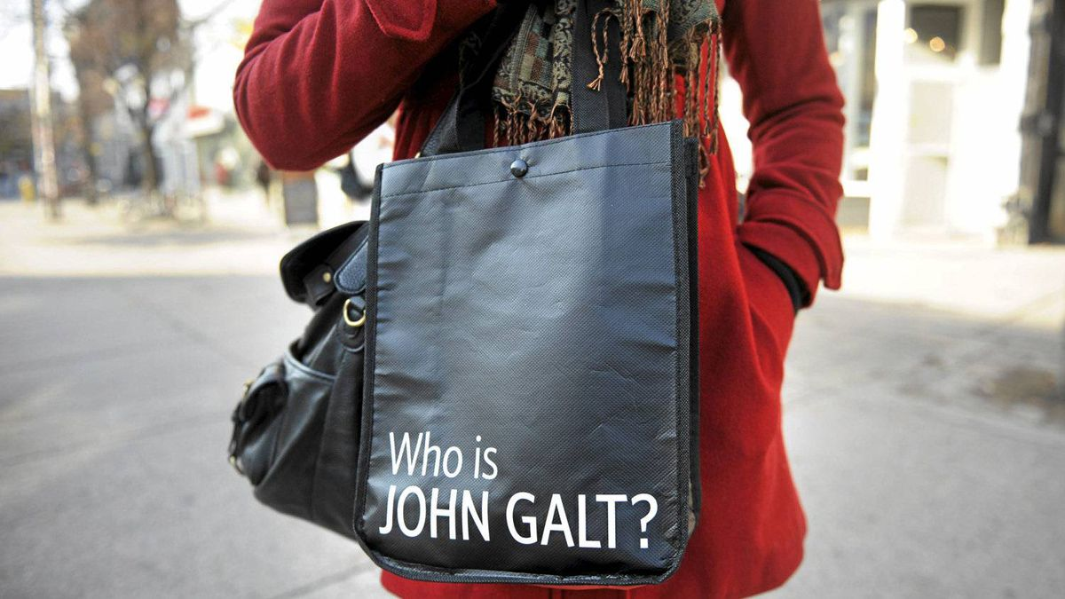 "A Lululemon Athletica shopping bag bears the words ""Who is John Galt,"" a catchphrase from Ayn Rand novel Atlas Shrugged."
