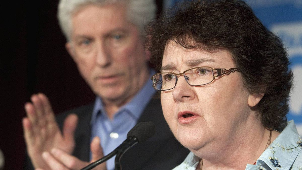Muguette Paill� who was the centre of attention during the French debate, gives her support to Bloc Qu�b�cois Leader Gilles Duceppe, Saturday, April 30, 2011 in Louiseville, Quebec.