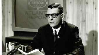 An undated photograph of broadcaster Bill Ozard making a presentation on a current-affairs program on Halifax station CJCH-TV.