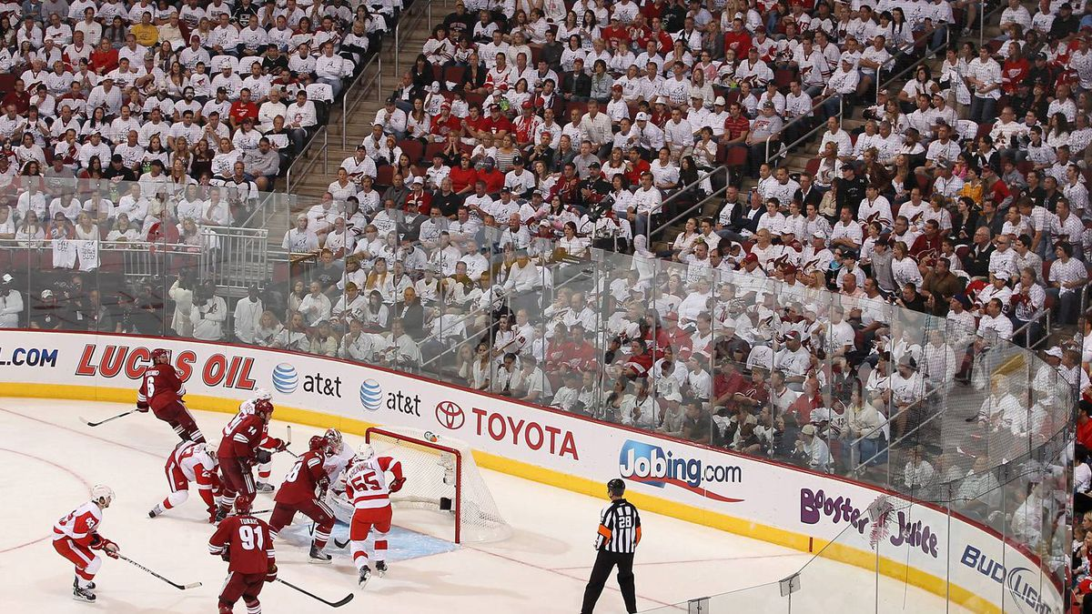 David Schlemko #6 of the Phoenix Coyotes scores a second period power play goal past goaltender Jimmy Howard #35 of the Detroit Red Wings in Game Three of the Western Conference Quarterfinals during the 2011 NHL Stanley Cup Playoffs at Jobing.com Arena on April 18, 2011 in Glendale, Arizona. The Red Wings defeated the Coyotes 4-2.