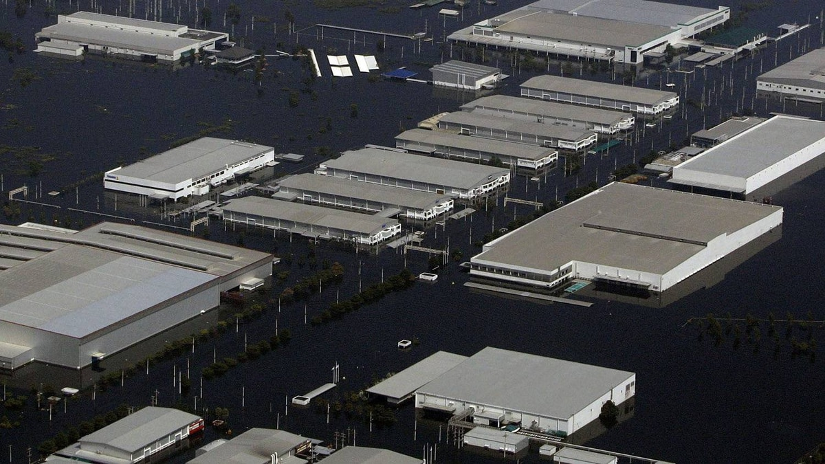 Factories are submerged in floodwaters at the Rojana industrial district in Ayutthaya, central Thailand, Monday, Oct. 24, 2011.