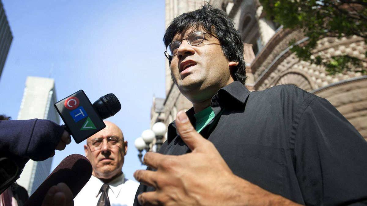 Activist Jaggi Singh, who was arrested during G20 protests, arrives at the Old City Hall court house in Toronto, Ontario on June 21, 2011.
