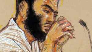 In a court sketch vetted by the U.S. Department of Defense, Omar Khadr listens to testimony during his war-crimes trial before a military tribunal in Guantanamo Bay, Cuba, in May of 2010.