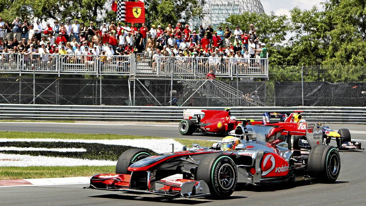 McLaren Mercedes driver Lewis Hamilton of Britain races to victory Sunday June 13, 2010 at the Frormula One Canadian Grand Prix in Montreal. Red Bull driver Mark Webber of Australia and Ferrari driver Fernando Alonso of Spain are behind. THE CANADIAN PRESS/Jacques Boissinot