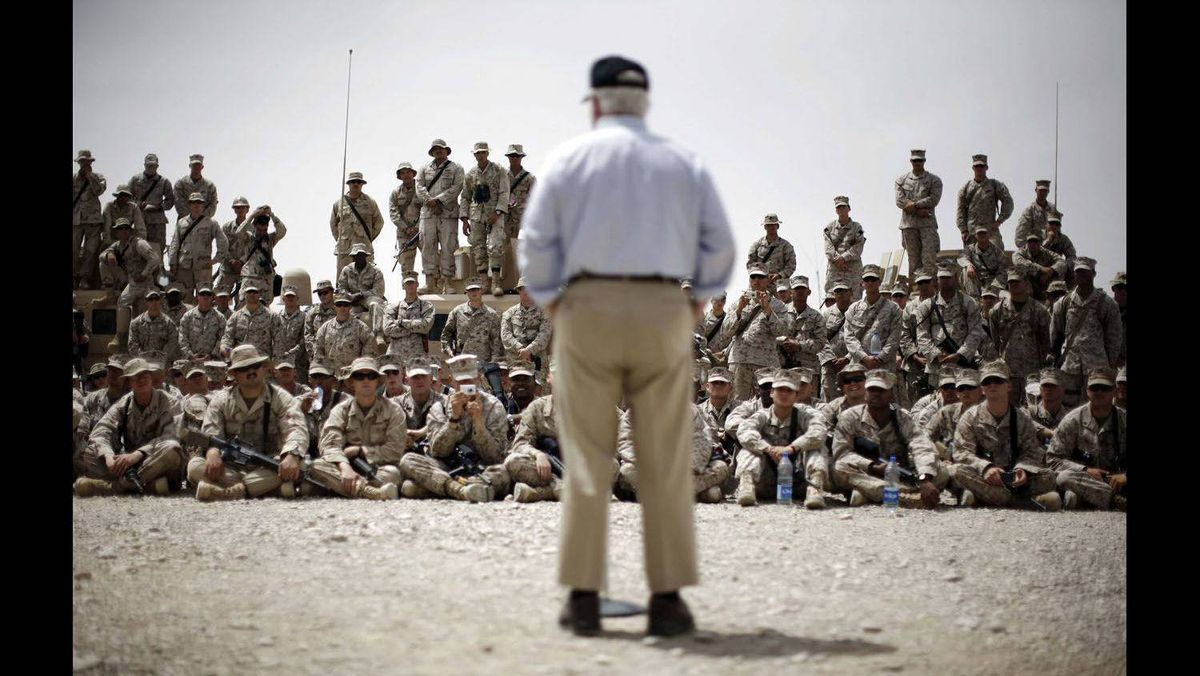 U.S. Secretary of Defense Robert Gates conducts a town hall meeting with U.S. Marines and other military service personnel at the Forward Operating Base Bastion in Helmand Province, May 7, 2009.