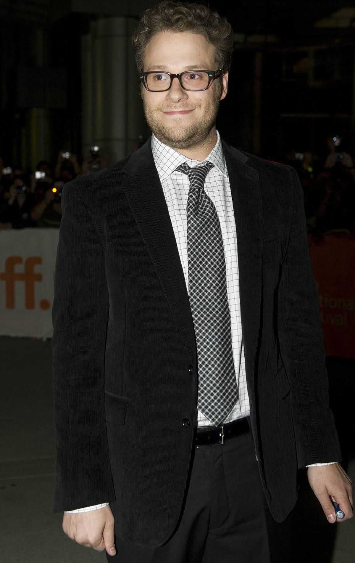 "Actor Seth Rogen poses on the red carpet before the screening of ""Take This Waltz"" at the Toronto International Film Festival in Toronto on Saturday, Sept., 10, 2011."
