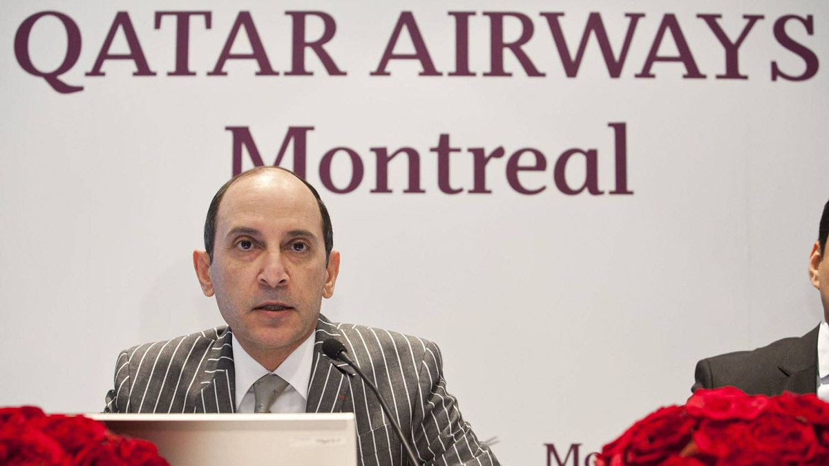 Qatar Airways CEO Akbar Al Baker talks about the company's expansion plans during a press conference in Montreal.