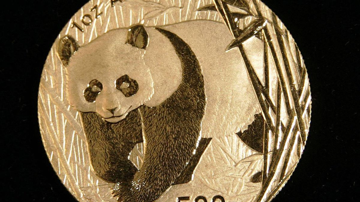 A one-ounce gold panda coin from China is shown at K. Smaltz Inc. in Garden City, N.Y., in a file photo