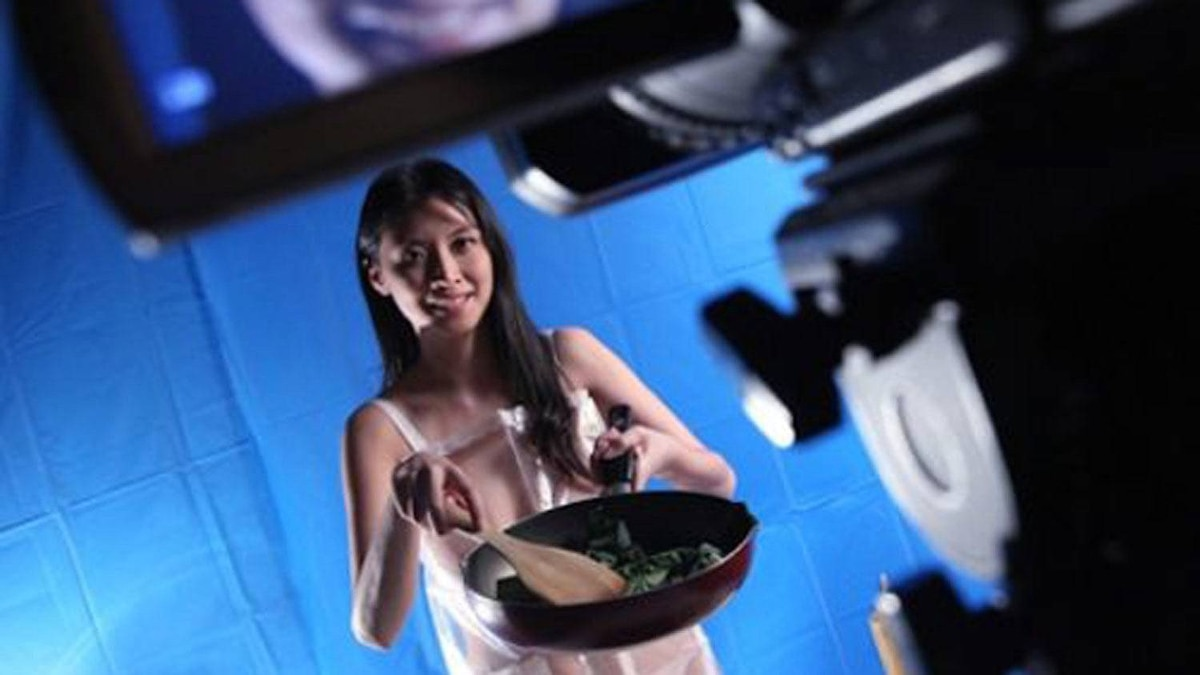 Flora Cheung on the set of her new adult cooking show.