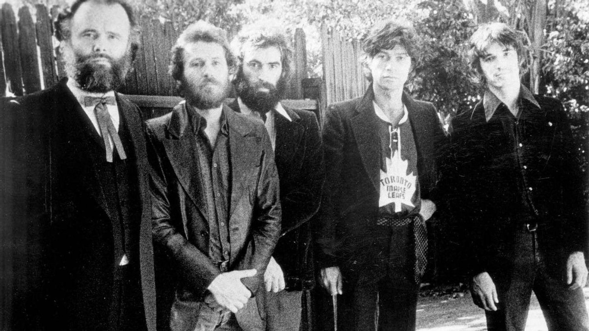 """""""The Band"""" in the seventies: L to R: Garth Hudson, Levon Helm, Richard Manuel, Robbie Robertson and Rick Danko"""