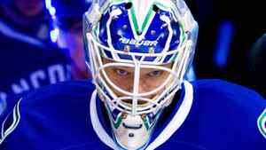 Vancouver Canucks' goalie Cory Schneider leads the team out for the pre-game skate prior to playing the Los Angeles Kings in game 5 of an NHL Western Conference quarterfinal Stanley Cup playoff hockey series in Vancouver, B.C., on Sunday April 22, 2012. THE CANADIAN PRESS/Darryl Dyck