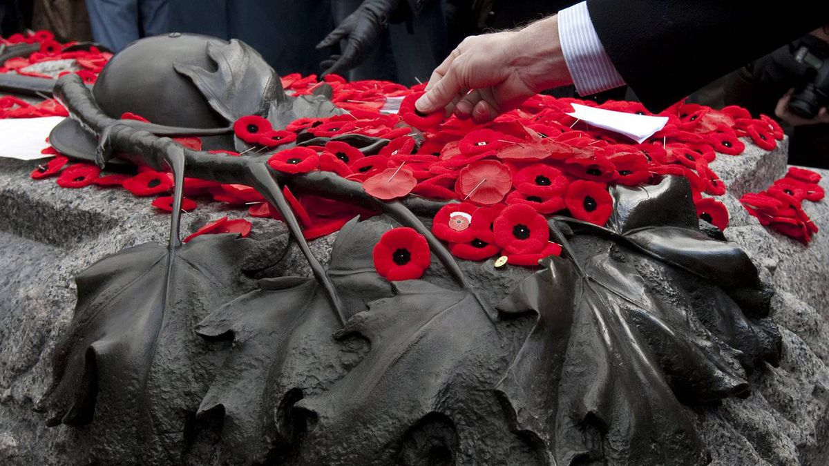 A man places his poppy on the Tomb of the Unknown Soldier following Remembrance Day ceremonies at the National War Memorial in Ottawa Friday November 11, 2011.
