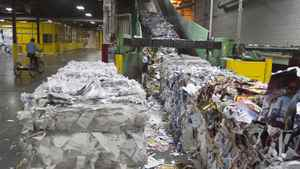 Recycled bales being reprocessed are shown in this file photo.
