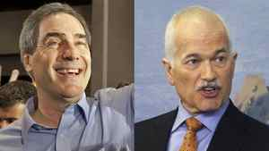 A combination photograph showing Liberal Leader Michael Ignatieff and NDP Leader Jack Layton.