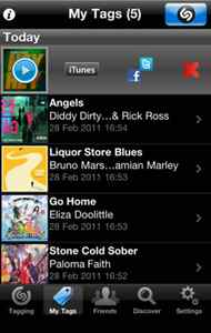 Shazam Shazam is another free app that makes the iPhone seem like magic. Hold your phone up when a song is playing (at a party, in a mall, wherever) and press the Shazam button. The app will listen, then within seconds it will identify the track, showing you the name and artist on the screen. You can then check out videos, get the lyrics, share with friends, and buy the track from the iTunes store. The free version of Shazam displays ads. The premium version, Shazam Encore ($5.99), is ad-free and includes LyricPlay, a feature that displays lyrics while the song is playing. (www.shazam.com)