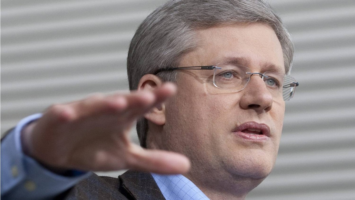 Conservative Leader Stephen Harper on the campaign trail in Saanich, B.C., on March 28, 2011.