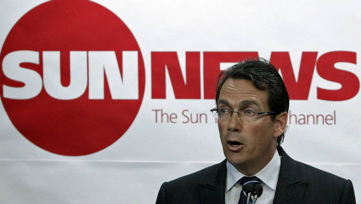 Quebecor chief executive Pierre Karl Peladeau unveils his plan to watch Sun TV News at a news conference in Toronto on June 15, 2010.