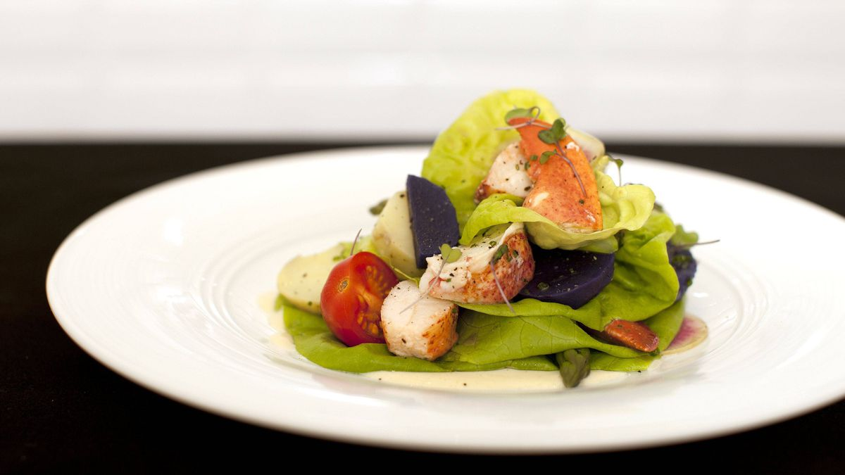 Fresh poached lobster salad at the Stock restaurant in Trump Tower