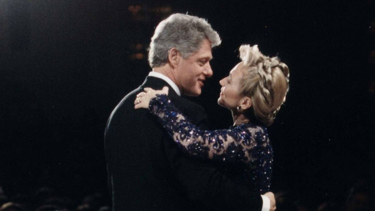 At the 1993 inaugural ball, the new first lady went with a complicated braided style.