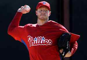 Former Toronto Blue Jays pitcher Roy Halladay works out with his new team as pitchers and catcher officially report to Spring Training at the Philadelphia Phillies' training facility in Clearwater, FL, February 18, 2010.