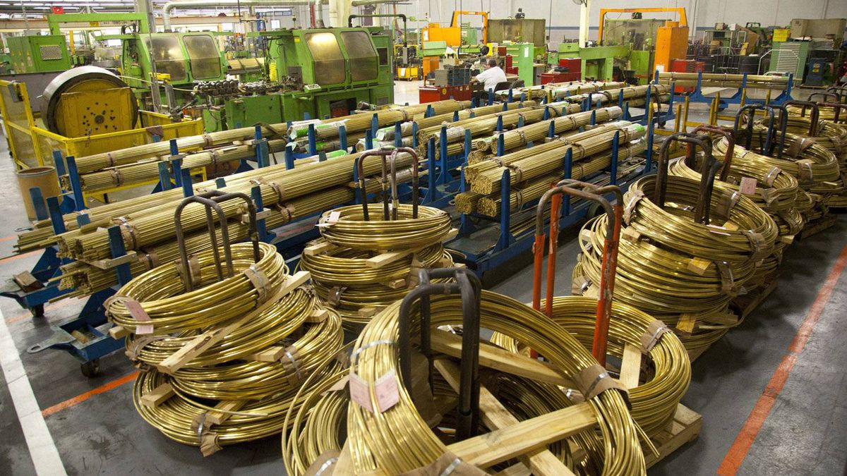 This Jan. 25, 2012 photo, shows coils of Brass inside Master Lock company in Milwaukee, Wis.