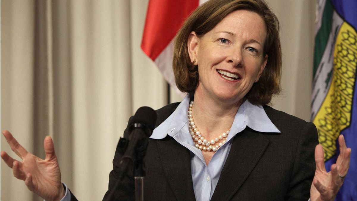 Alberta Premier Alison Redford speaks at a news conference about the Keystone XL pipeline at the Canadian Embassy in Washington Nov. 14, 2011.
