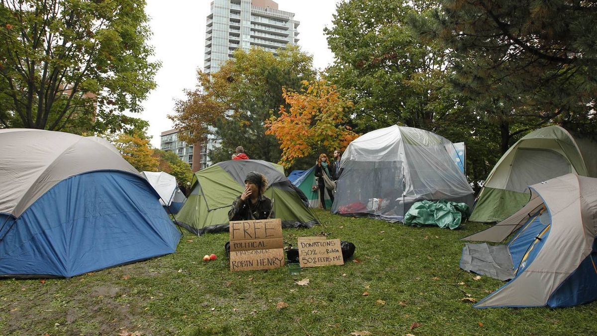 Protesters pitch tents in St. James Park during Occupy Toronto on October 15, 2011.