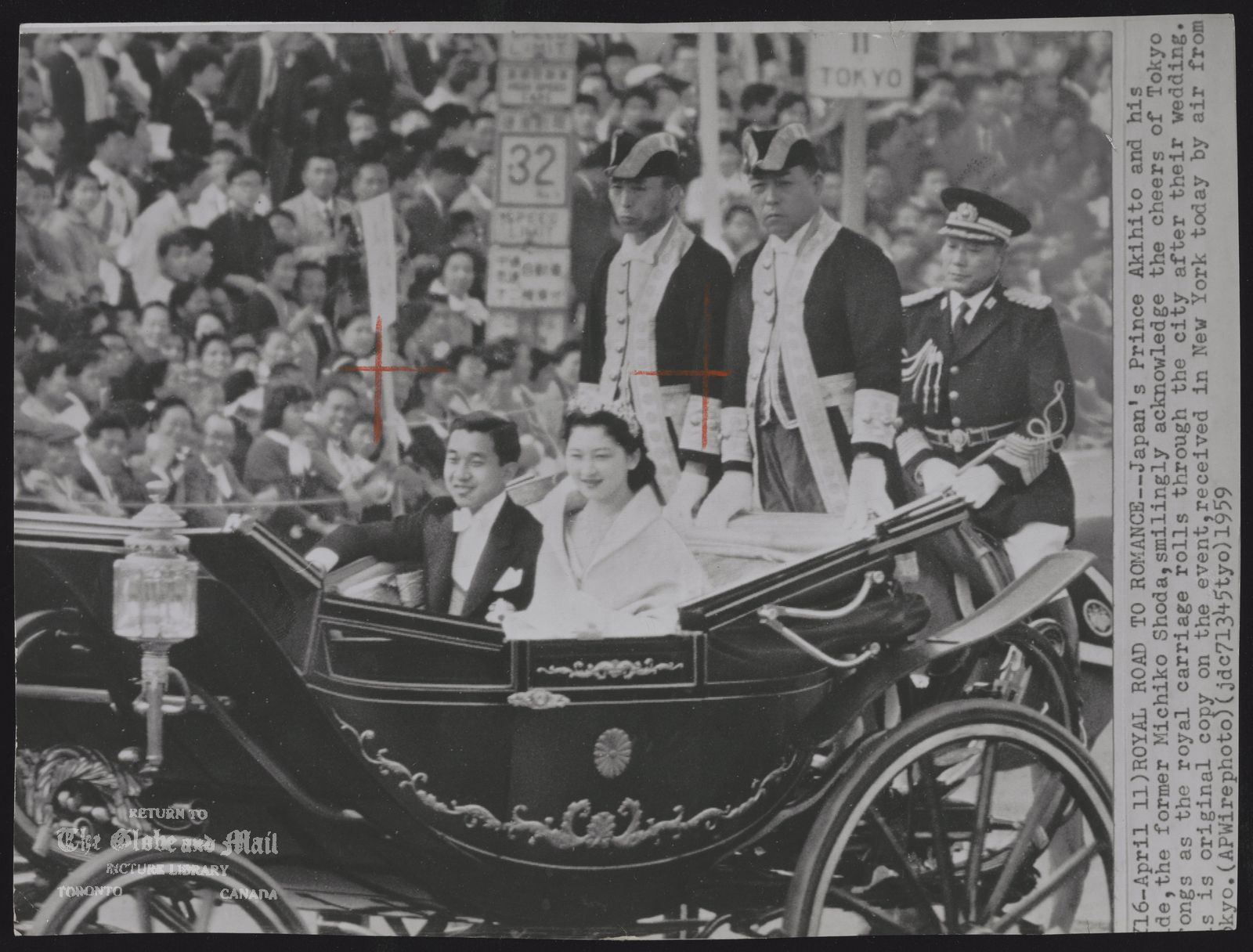 ROYAL FAMILY Japan Crown Prince Akihito. (April 11) ROYAL ROAD TO ROMANCE --- Japan's Prince Akihito and his bride, the former Michiko Shoda, smilingly acknowledge the cheers of Tokyo throngs as the royal carriage rolls through the city after their wedding. This is original copy on the event, received in New York today by air from Tokyo. (AP Wirephoto) (jdc71345tyo) 1959