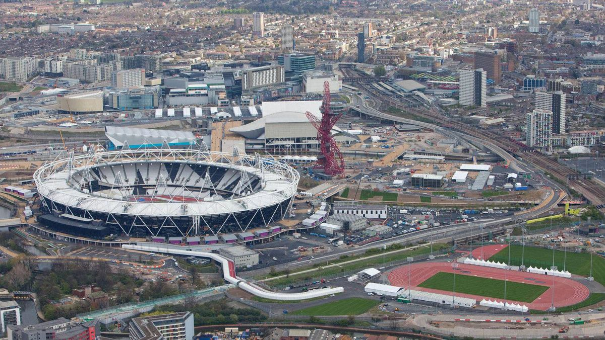 An aerial view of Olympic Stadium and the warm up track for the London 2012 Olympic Games.