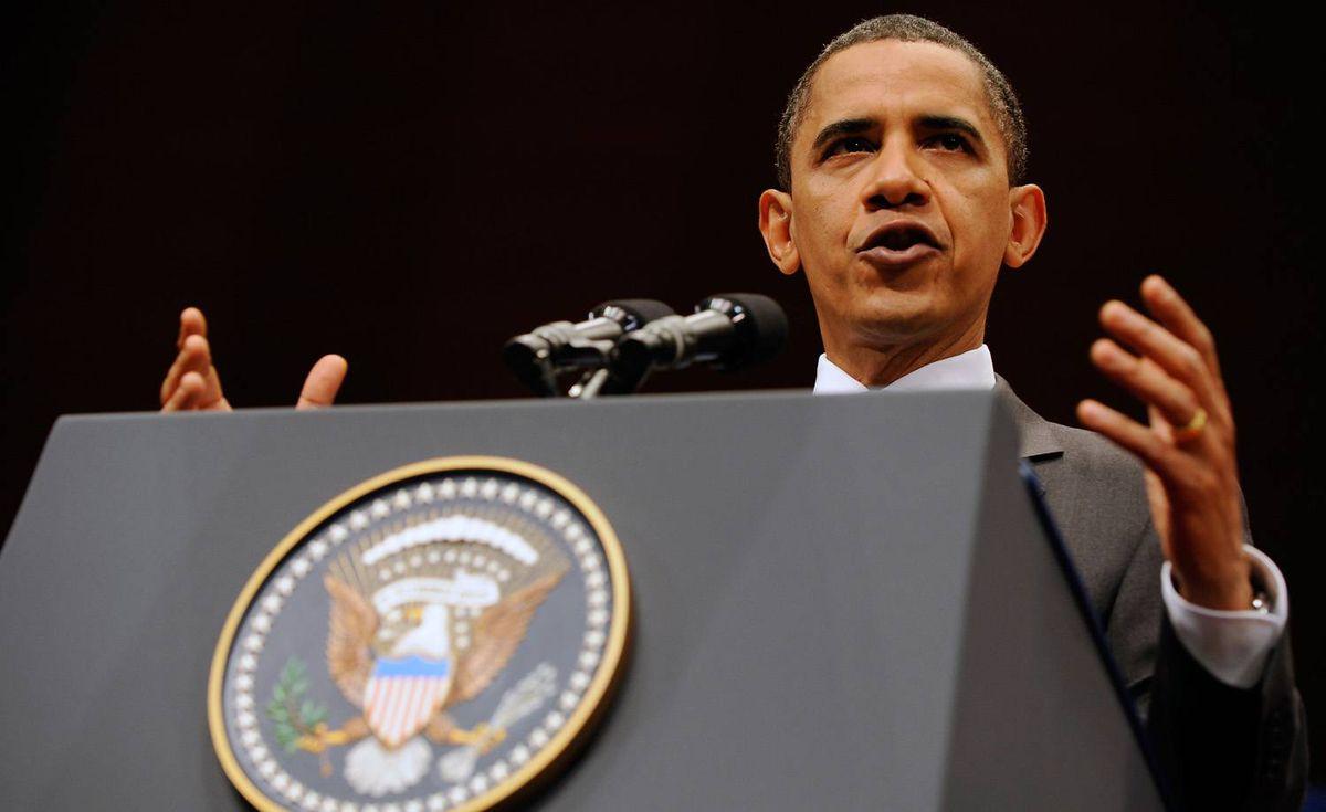 U.S. President Barack Obama speaks on U.S. Asian policy at Suntory Hall on November 14, 2009 in Tokyo, Japan.