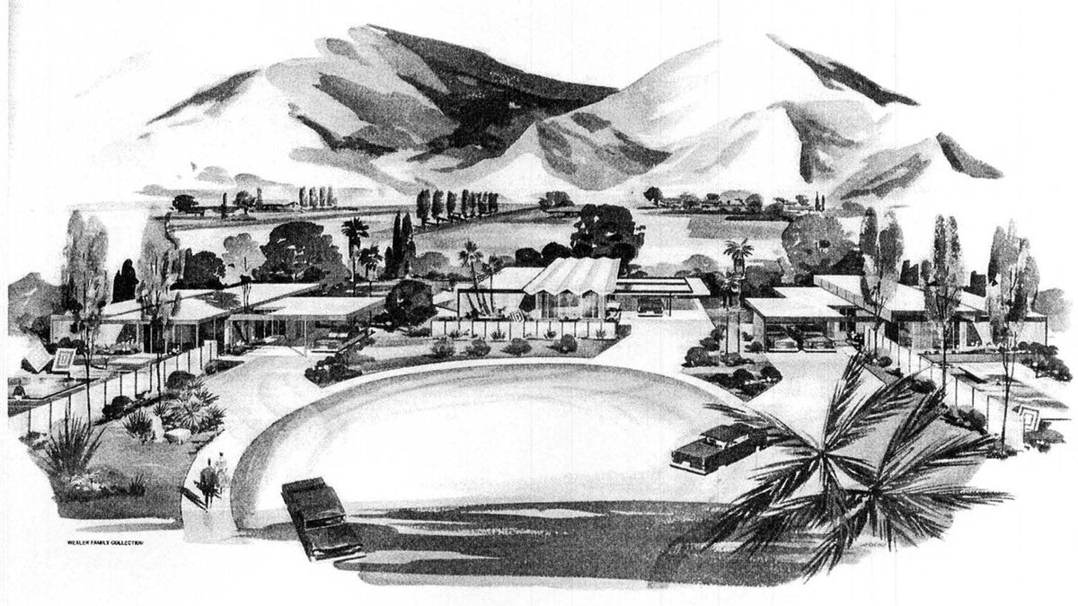 Steel house enclave in Palm Springs, Calif., from a 1960s promotional brochure.