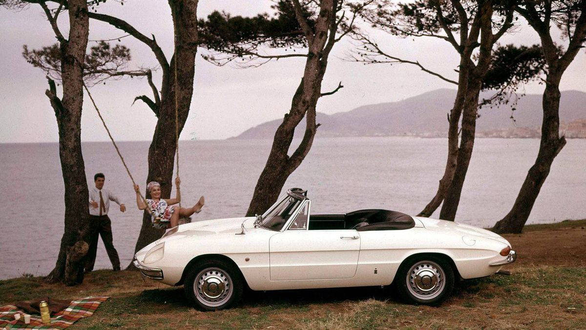 "1966 Alfa Romeo Spider Duetto: The Alfa's pointed snout and tail made it a design classic, and one of the best-loved convertibles ever made. The Spider became a cultural icon after it appeared in the 1967 movie The Graduate. The car's signature tapered rear end is variously referred to as a ""boat tail"" or ""cigar tail."""