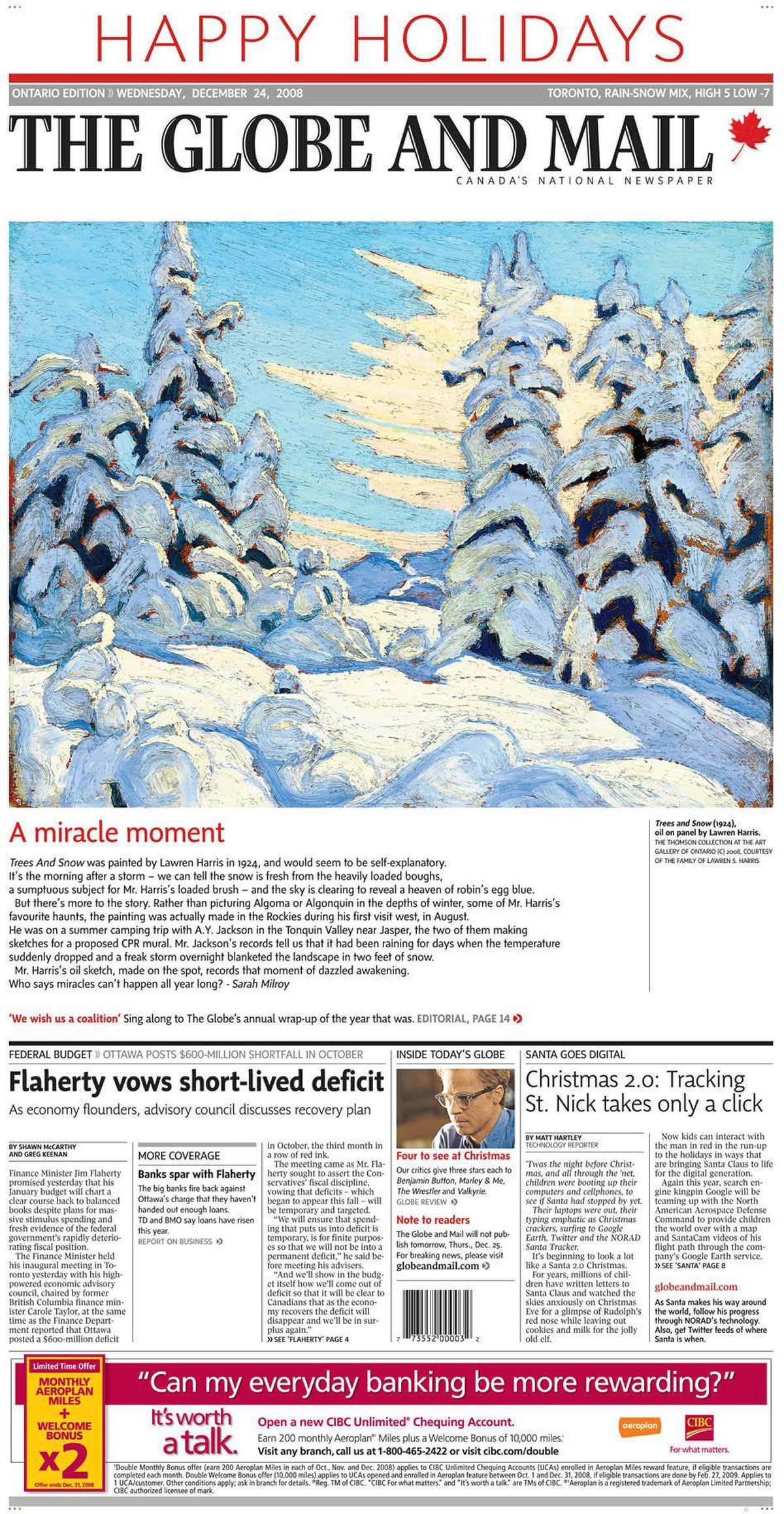 Cover of The Globe and Mail, Dec. 24, 2008