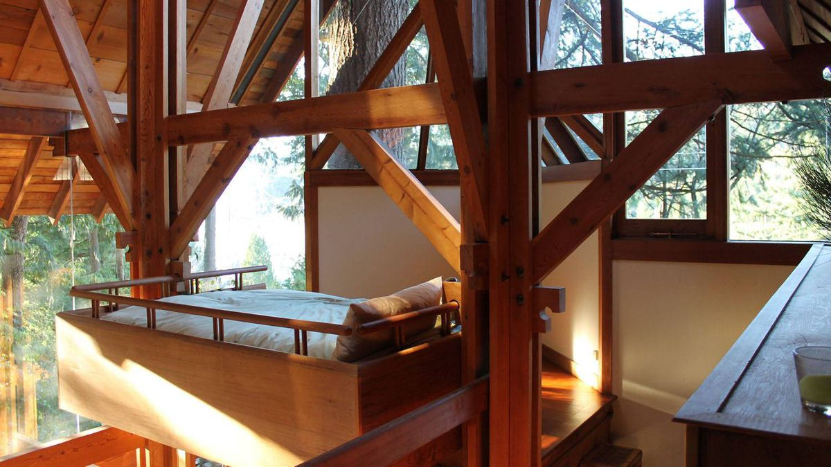 A resting spot among the roof trusses.