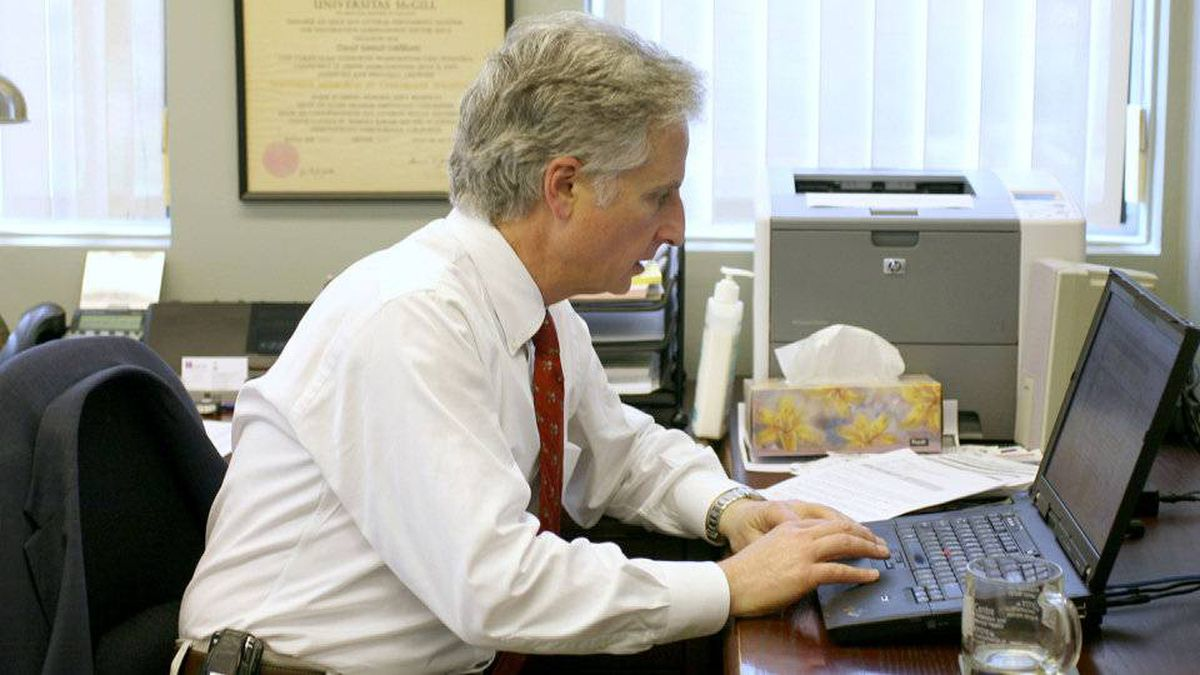 David Goldbloom works in his office at CAMH in downtown Toronto.